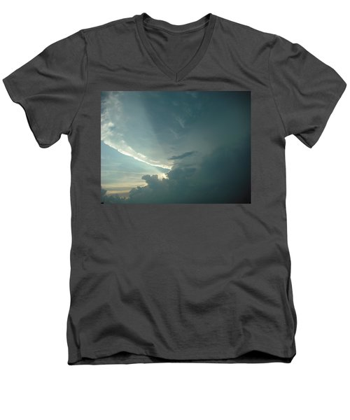 Men's V-Neck T-Shirt featuring the photograph Sunset Supercell by Ed Sweeney