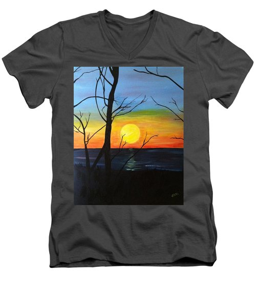 Sunset Through The Branches Men's V-Neck T-Shirt