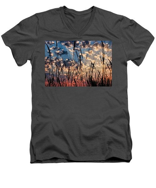 Men's V-Neck T-Shirt featuring the photograph Sunset Through The Grasses by Don Schwartz