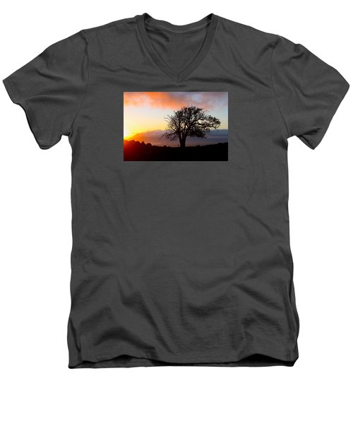 Sunset Tree In Maui Men's V-Neck T-Shirt by Venetia Featherstone-Witty