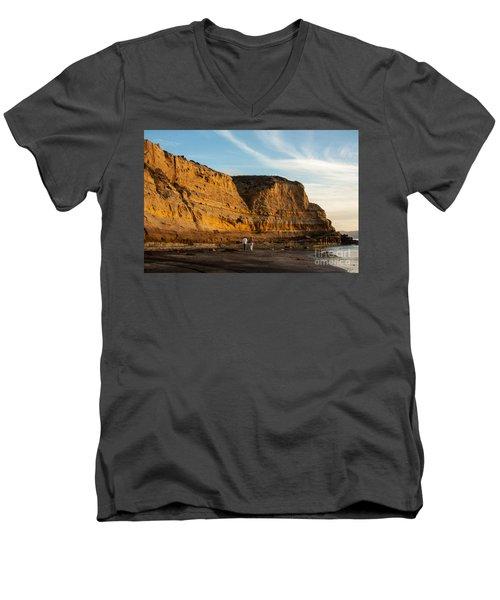 Sunset Walk At Flat Rock  La Jolla California Men's V-Neck T-Shirt