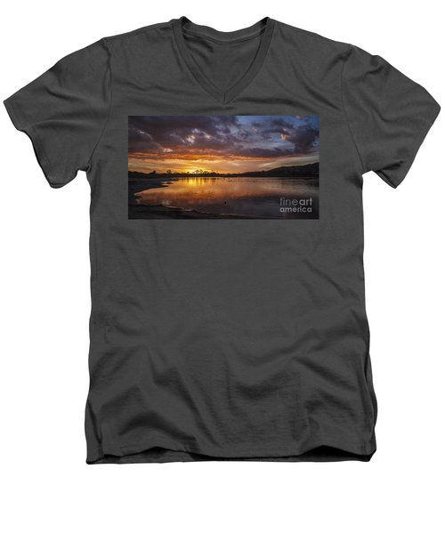 Sunset With Clouds Over Malibu Beach Lagoon Estuary Men's V-Neck T-Shirt by Jerry Cowart