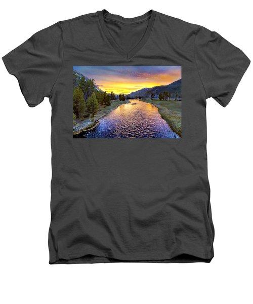 Sunset Yellowstone National Park Madison River Men's V-Neck T-Shirt