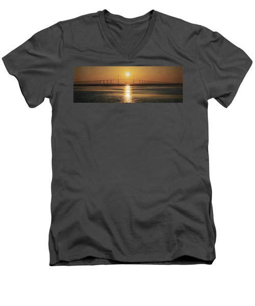 Men's V-Neck T-Shirt featuring the photograph Sunshine Skyway Bridge Sunrise by Steven Sparks