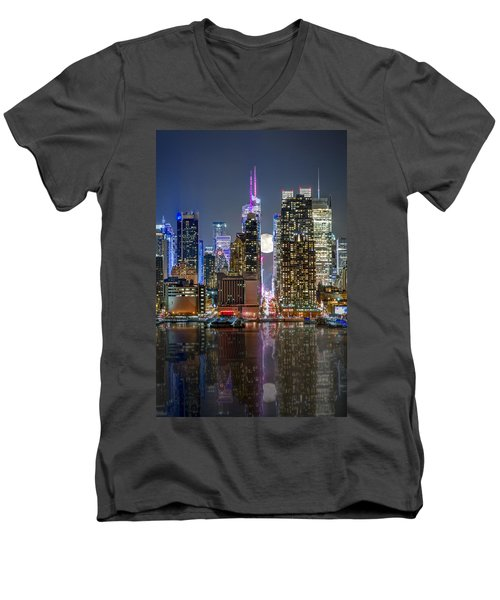 Super Moon At 42nd Street  Men's V-Neck T-Shirt by Eduard Moldoveanu