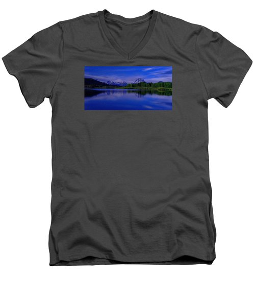 Super Moon Men's V-Neck T-Shirt by Chad Dutson