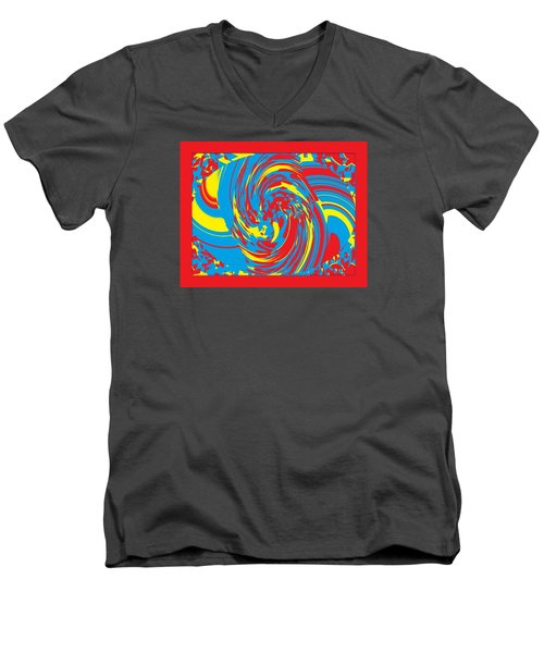 Men's V-Neck T-Shirt featuring the painting Super Swirl by Catherine Lott