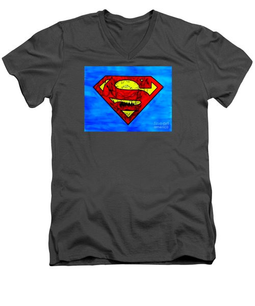 Men's V-Neck T-Shirt featuring the drawing Superman And Doomsday R Y D by Justin Moore