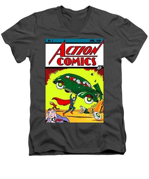 First Edition - Superman Comic Book  Men's V-Neck T-Shirt