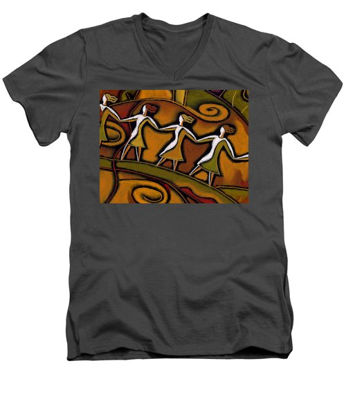 Men's V-Neck T-Shirt featuring the painting Support by Leon Zernitsky