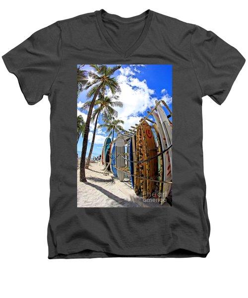 Surf And Sun Waikiki Men's V-Neck T-Shirt by DJ Florek
