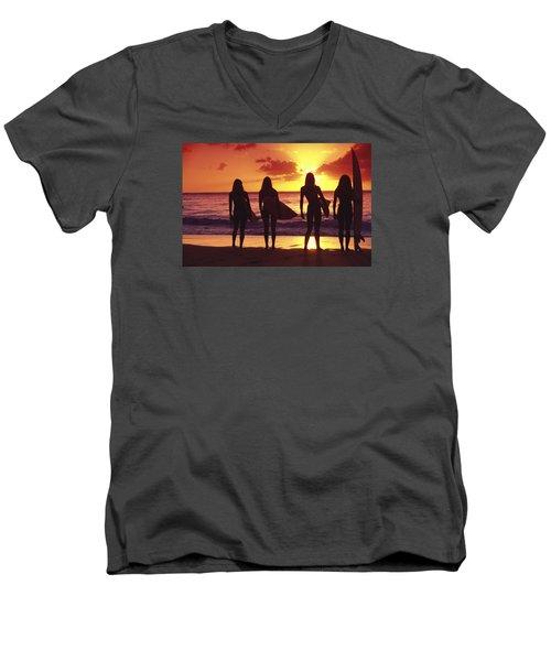 Surfer Girl Silhouettes Men's V-Neck T-Shirt