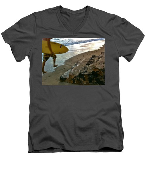 Surfer In Motion Men's V-Neck T-Shirt