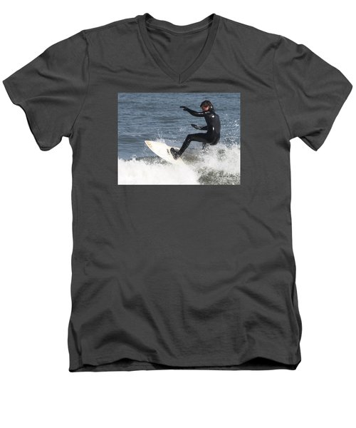 Men's V-Neck T-Shirt featuring the photograph Surfer On White Water by John Telfer