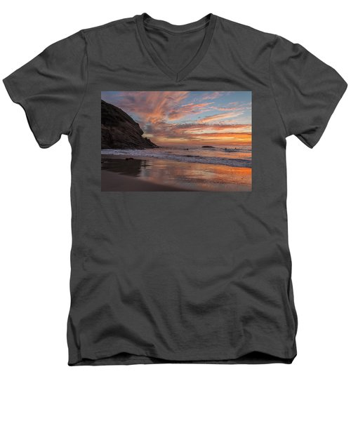 Surfers And Sunset At Strands Beach Dana Point Men's V-Neck T-Shirt