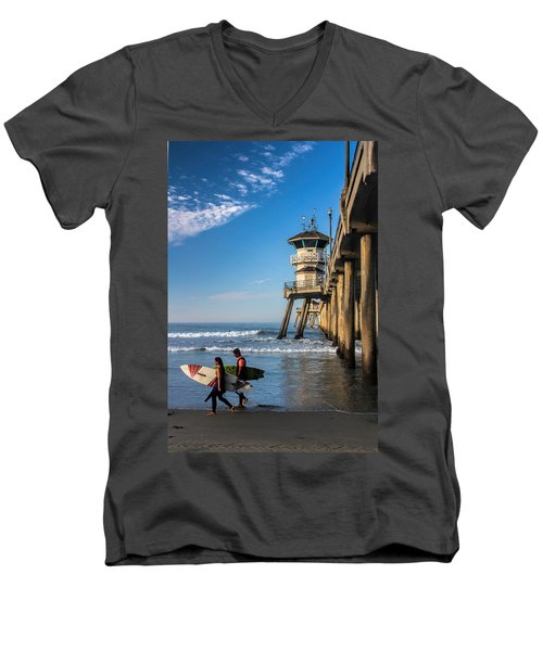 Men's V-Neck T-Shirt featuring the photograph Surf's Up by Tammy Espino