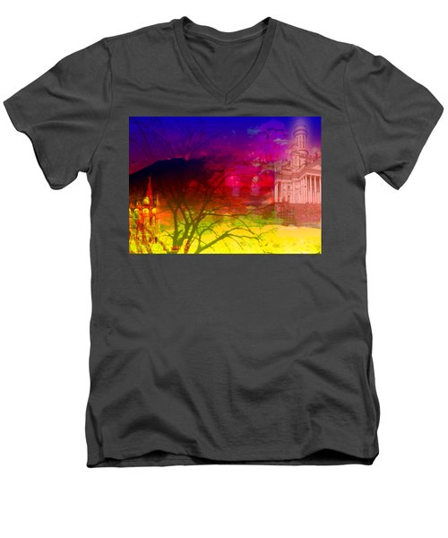 Men's V-Neck T-Shirt featuring the digital art Surreal Buildings  by Cathy Anderson