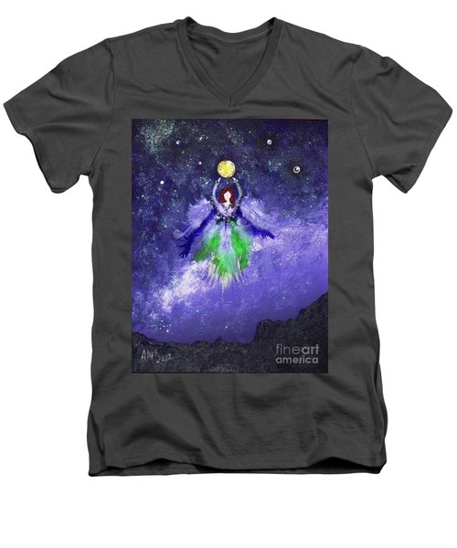 Men's V-Neck T-Shirt featuring the painting Survivor by Alys Caviness-Gober
