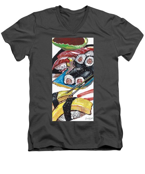 Sushi Bar Painting Men's V-Neck T-Shirt