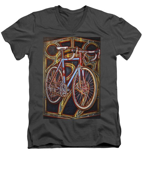 Men's V-Neck T-Shirt featuring the painting Swallow Bespoke Bicycle by Mark Howard Jones