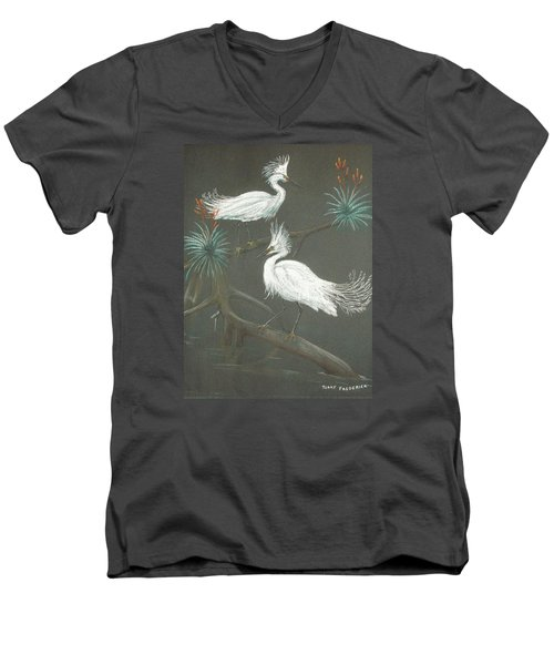 Men's V-Neck T-Shirt featuring the pastel Swampbirds by Terry Frederick