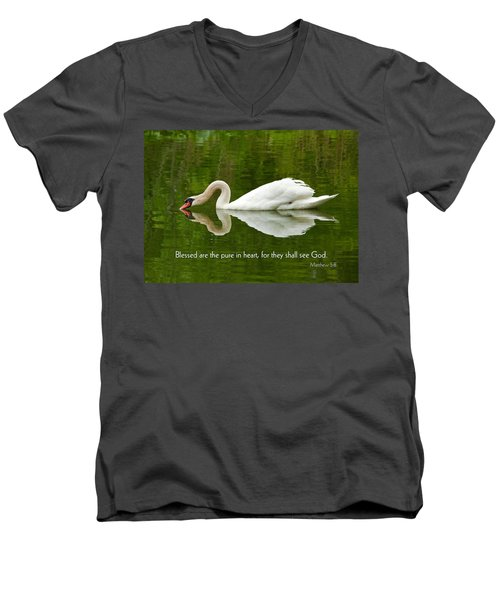 Swan Heart Bible Verse Greeting Card Original Fine Art Photograph Print As A Gift Men's V-Neck T-Shirt