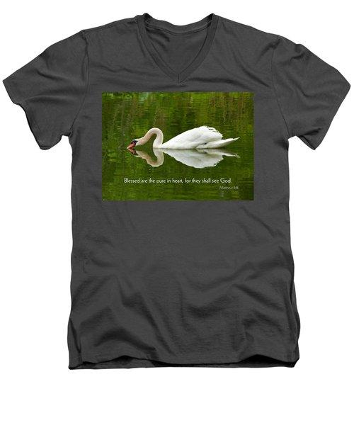 Swan Heart Bible Verse Greeting Card Original Fine Art Photograph Print As A Gift Men's V-Neck T-Shirt by Jerry Cowart