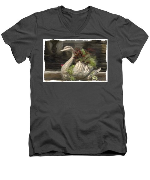 Swan With Beautiful Flowers Men's V-Neck T-Shirt