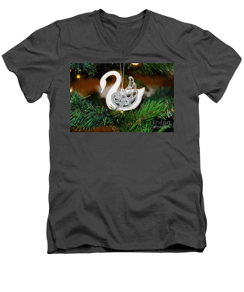 Men's V-Neck T-Shirt featuring the photograph Swans A Swimming by Cassandra Buckley