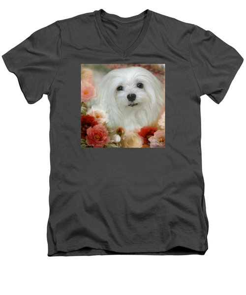 Sweet Snowdrop Men's V-Neck T-Shirt by Morag Bates
