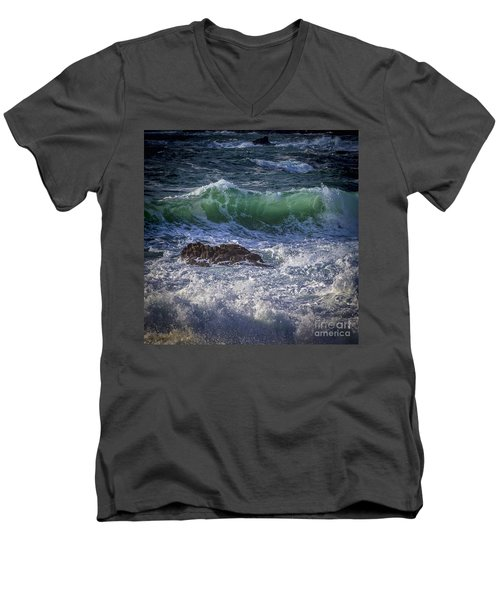 Swells In Doninos Beach Galicia Spain Men's V-Neck T-Shirt