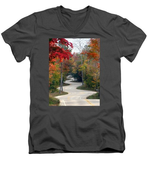 Swervy Road At North Port Men's V-Neck T-Shirt by David T Wilkinson