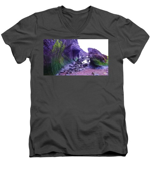 Men's V-Neck T-Shirt featuring the photograph Swirl Rocks by John Williams