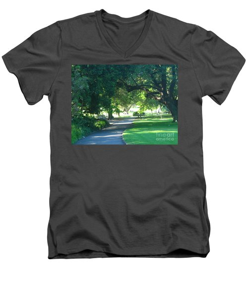 Men's V-Neck T-Shirt featuring the photograph Sydney Botanical Gardens Walk by Leanne Seymour