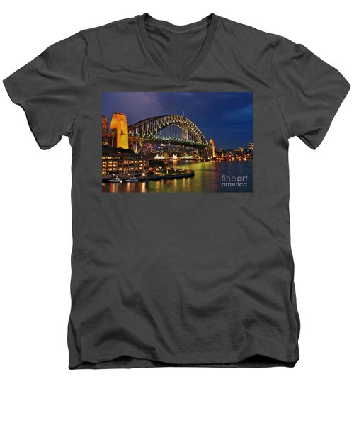 Sydney Harbour Bridge By Night Men's V-Neck T-Shirt