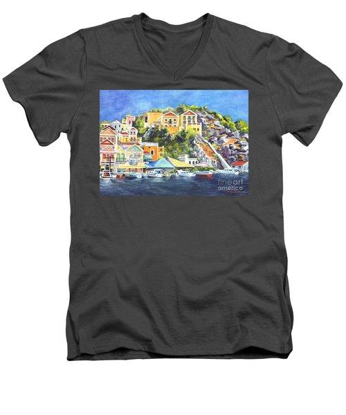 Symi Harbor The Grecian Isle  Men's V-Neck T-Shirt