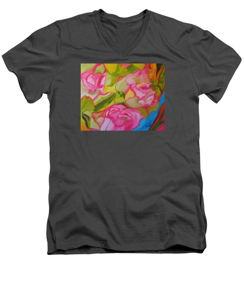 Symphony Of Roses Men's V-Neck T-Shirt by Meryl Goudey