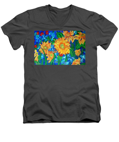 Symphony Of Sunflowers Men's V-Neck T-Shirt