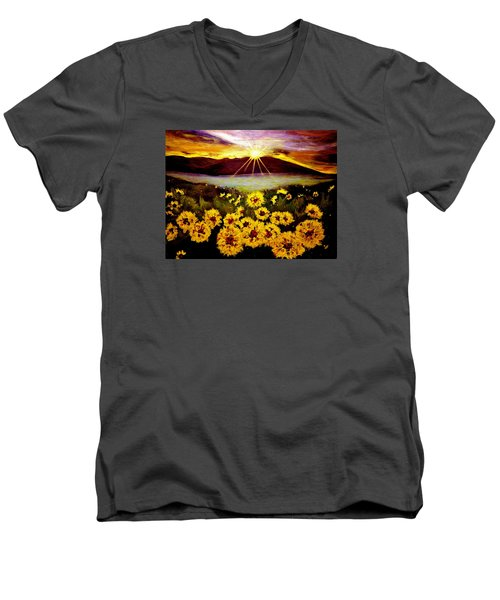 Men's V-Neck T-Shirt featuring the painting Symphony Of The Sun.. by Cristina Mihailescu
