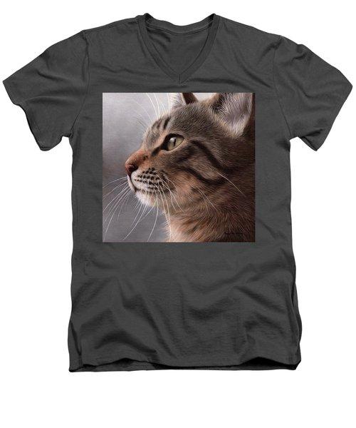 Tabby Cat Painting Men's V-Neck T-Shirt