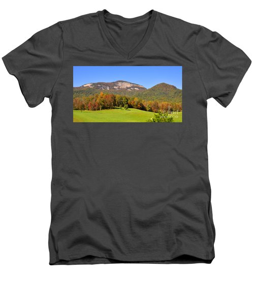 Table Rock In Autumn Men's V-Neck T-Shirt by Lydia Holly