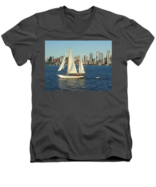 Men's V-Neck T-Shirt featuring the photograph Mind If I Tag Along by Natalie Ortiz