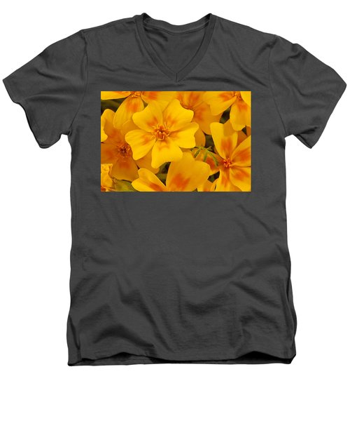 Men's V-Neck T-Shirt featuring the photograph Tagette Marigold Blossoms Macro by Sandra Foster