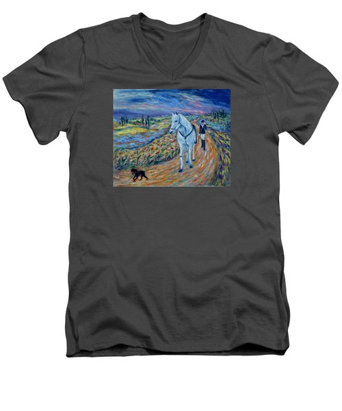 Men's V-Neck T-Shirt featuring the painting Take Me Home My Friend by Xueling Zou