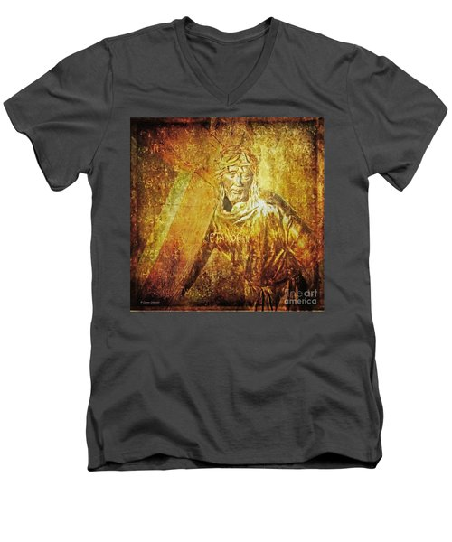 Takes Up The Cross  Via Dolorosa 2 Men's V-Neck T-Shirt by Lianne Schneider