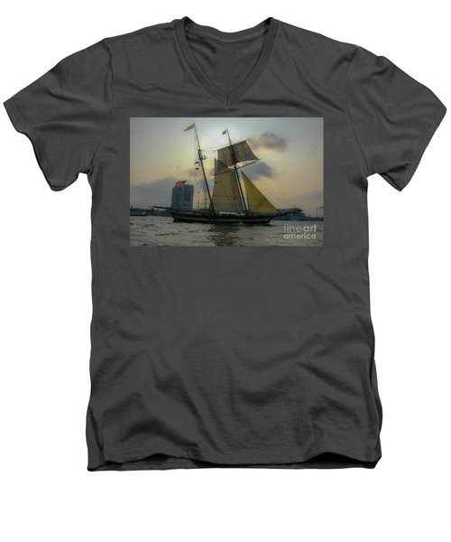 Men's V-Neck T-Shirt featuring the photograph Tall Ship In Charleston by Dale Powell