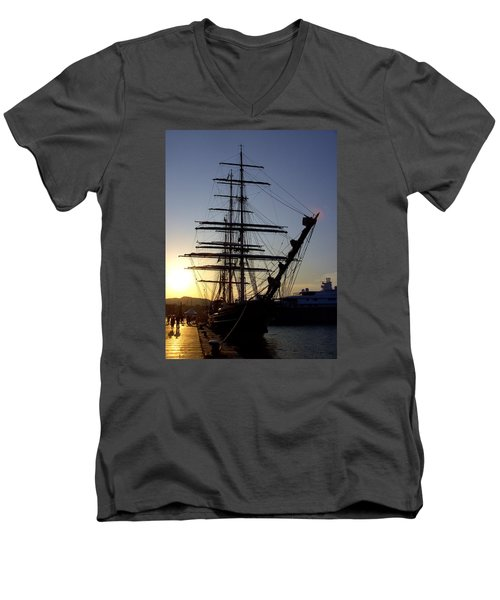 Tall Ship In Ibiza Town Men's V-Neck T-Shirt