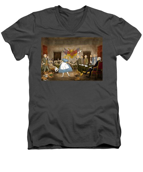Men's V-Neck T-Shirt featuring the painting Tammy In Independence Hall by Reynold Jay