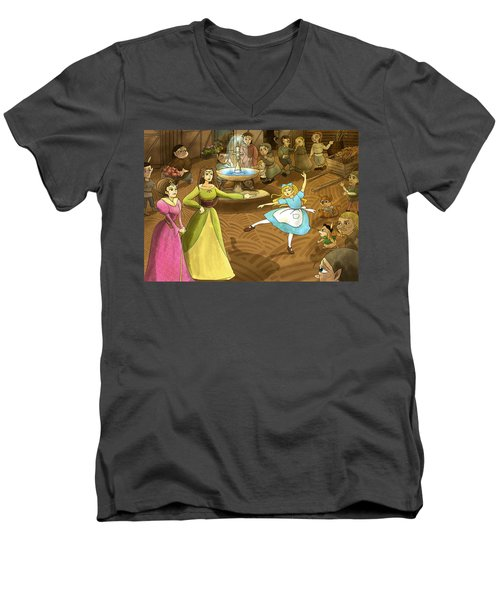 Men's V-Neck T-Shirt featuring the painting Tammy In The Town Square by Reynold Jay
