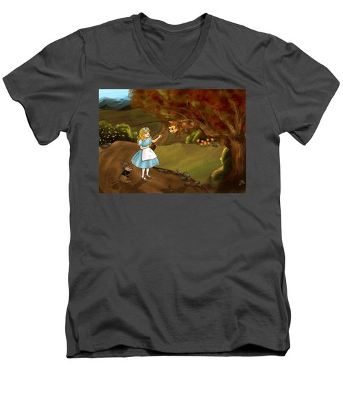 Men's V-Neck T-Shirt featuring the painting Tammy Meets Zeke The Opossum by Reynold Jay